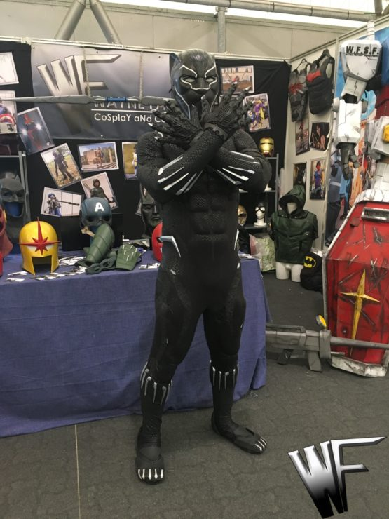 black panther costume with screen print and helmet